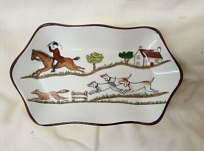 Coalport Hunting Scene Trinket Or Pin Dish • 5£