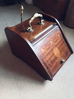 Antique Coal Scuttle, Coal Bin, Edwardian, Inlaid Mahogany And Brass With Shovel • 175£