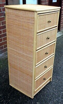 1970s Vintage Bonacina Italian Type Bamboo Rattan Tall Lingerie Chest Of Drawers • 225£