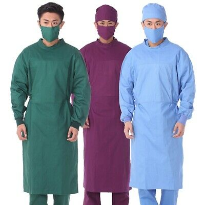 £22.24 • Buy Reusable Surgical Gown Hospital Scrubs Uniform Elastic Cuffs Protective Workwear