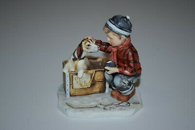 $ CDN64.86 • Buy Vintage Gorham Norman Rockwell Figurine Four Seasons Winter- A Boy Meets His Dog