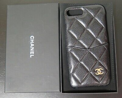 AU799 • Buy .Auth Chanel Iphone 7 Plus & 8 Plus Black Quilted Leather Case In Box