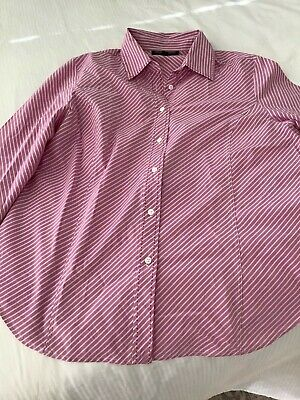 AU11.50 • Buy Clothing Company Woman, Size 16, Musk Pink & White Striped Shirt In VGC