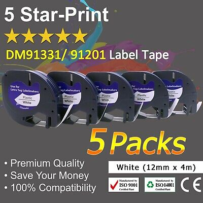 AU16.99 • Buy 5 PK 91331 Compatible With Dymo LetraTag LT- 100H 91201 Plastic Label Tape 1/2''