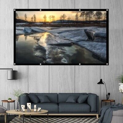 £9.39 • Buy Portable 150'' Inch Fabric Matte White Projector Projection Screen Home UK