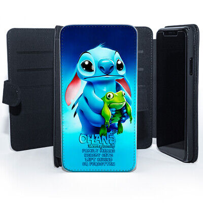 £8.99 • Buy Stitch Lilo Frog Ohana Family Quote Disney Leather Wallet Phone Cover Case