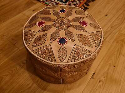 MOROCCAN LEATHER  POUFFE Ex Display Marks See Pics  FOOTSTOOL HAND MADE  BOUFET  • 24.95£