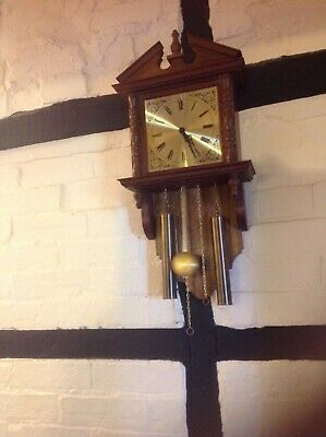 Battery Operated Wooden Wall Clock With Pendulum. InVGC • 45.99£