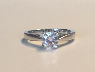 Sterling Silver Cubic Solitaire Ring 925 Ladies Engagement Brand New Size M1/2 • 14.99£