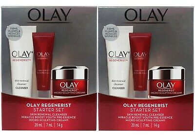 AU36.50 • Buy 2 X Olay Regenerist Starter Set Cleanser Miracle Boost Micro Sculpting Cream