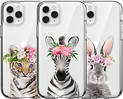 AU16.95 • Buy Silicone Cover Case Cute Baby Animal Zebra Tiger Bunny Rabbit Flower Head