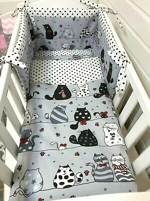 £35 • Buy Space Saver / Mini Cot Bedding Set Fits 100x50 Space Saver Cot Cats Grey And Red