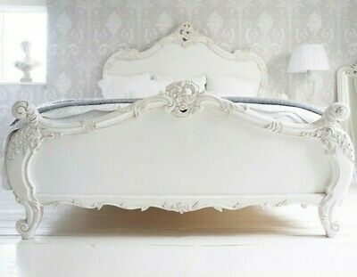 Antique White French Chateau King Size Bed Rococo Style French Bedroom Co! • 600£