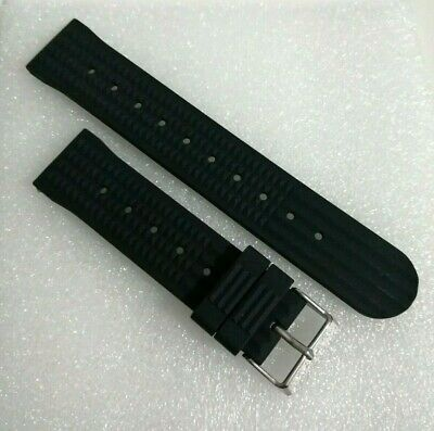 £12.95 • Buy 20mm BLACK SILICONE WAFFLE DIVERS WATCH STRAP (SEIKO 6105 CAPTAIN WILLARD STYLE)
