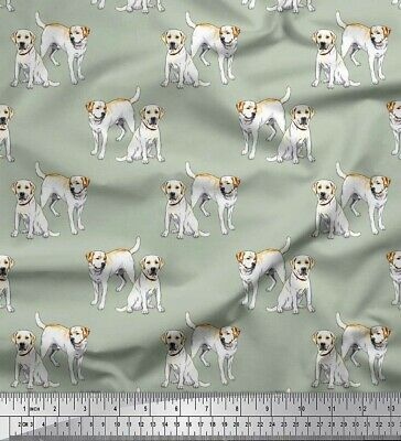 Soimoi Green Cotton Poplin Fabric Labrador Dog Fabric Prints By-Zm4 • 7.99£