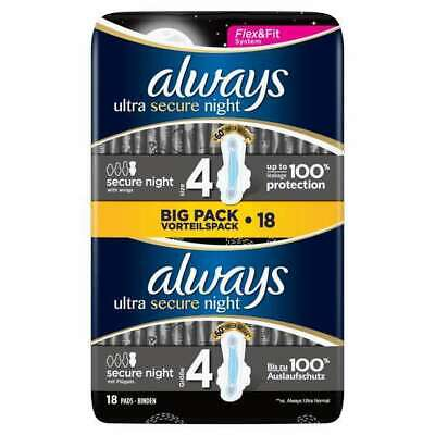 £6.99 • Buy Always Ultra Secure Night (Size 4) Sanitary Towels With Wings. 18 Pads. Big Pack