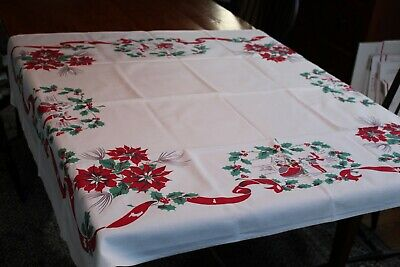$ CDN33.97 • Buy Vintage Cotton Christmas Tablecloth 48x52 Fab Color Holly Ribbons Carolers