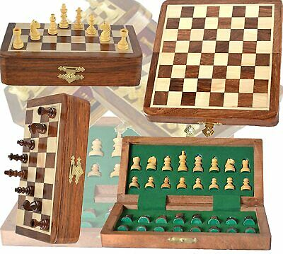 £19.99 • Buy 18 Cm Wood Magnetic Chess Set With Staunton Chess Pieces  Folding Game Board