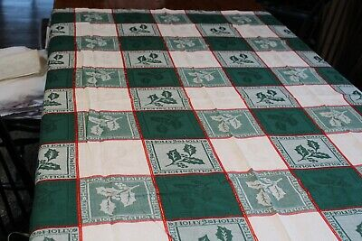 $ CDN7.83 • Buy Vintage Cotton Christmas Tablecloth Plaid  Holly  52x70 Shades Of Green & White
