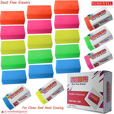 £2.99 • Buy ROSSWELL Soft Rubber Pencil Coloured Erasers School Office Pack Party Bag Filler
