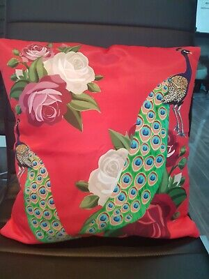 Red Peacock Floral Pair Of Cushion Covers - Digital Print 16 X16  HOME & GARDEN • 11£
