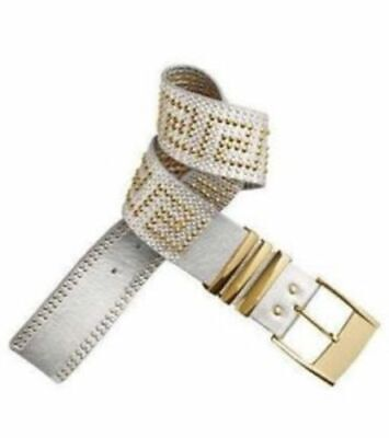 H&m Versace Studded Leather Belt  Silver Gold Studs Xs Leopard Dust Bag New • 99.99£