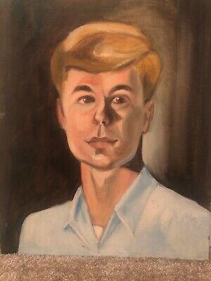 """Vintage Portrait  Young Man  1960's On Canvas Board 16"""" X 20"""" • 56.45£"""