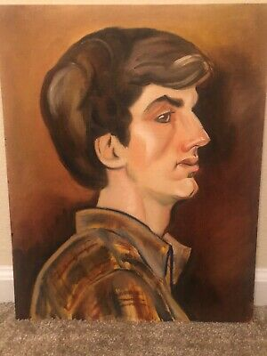 """Vintage Portrait  Young Man  1960's On Canvas Board 16"""" X 20"""" Mid Century Vibe • 56.45£"""