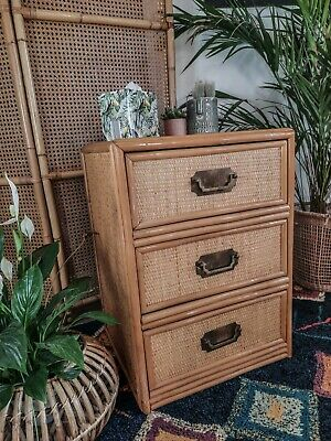 Vintage Bamboo Cane Rattan Bedside Table/Chest Of Drawers Angraves Boho • 95£