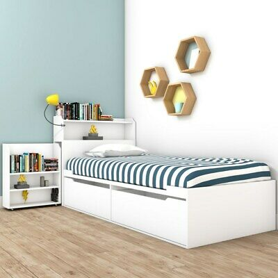 Sloan White Cabin Bed With Storage Headboard And Underbed Drawers • 379.99£