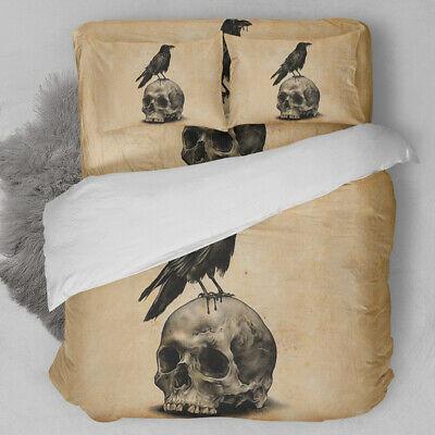 Skull Cow Duvet Quilt Cover Gothic 3D Bedding Set Pillowcases Single Double King • 17.09£