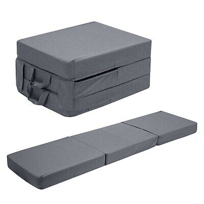 £49.29 • Buy Grey Fold Out Z Bed Cube Sleepover Guest Mattress Futon Chair Bed Adults Kids