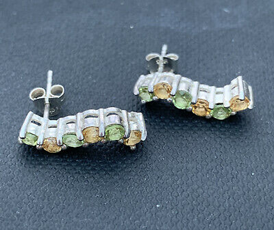 925 Silver Peridot And Citrine Drop Earrings • 10.99£