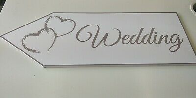 £14.99 • Buy Large Wedding Arrow Sign With Hearts Married Wedding Day Party Sign White