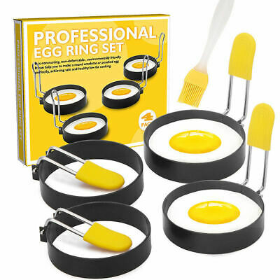 2/4Pcs Metal Egg Frying Rings Circle Round Fried/Poach Mould+Handle Non Stick UK • 4.08£