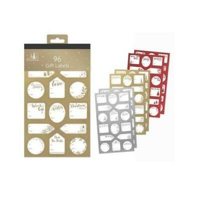 96 Silver Red Gold Labels Christmas Tag Sticker Gift Tags Name Xmas Present • 1.79£