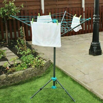 3 Arm Rotary Airer Dryer Garden Outdoor 16m Washing Line Clothes Camping Airer • 21.99£