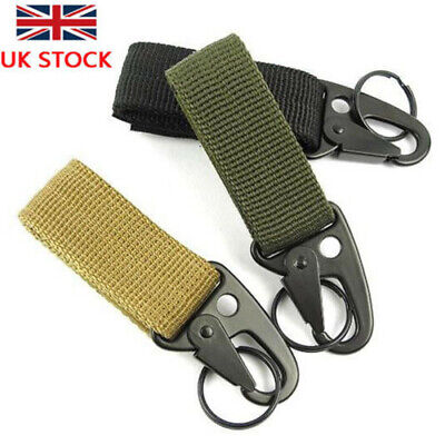 4pcs Molle Hanging Belt + Metal Hook H&K Snap Key Carabiner Clip Buckle UK STOCK • 8.39£