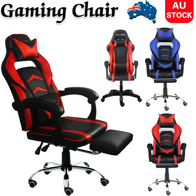 AU128.99 • Buy Gaming Office Chair PU Leather Executive Racing Footrest Computer Seat Backrest