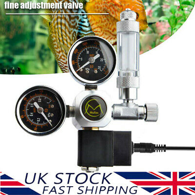 Dual Gauge Aquarium CO2 Regulator W/ Solenoid Bubble Counter W21.8 EU Plug • 39.99£