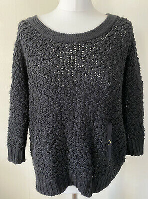 £21.99 • Buy Whistles Black Popcorn Knit Slouchy Lounge Wool Blend Jumper Size 10 Button Back