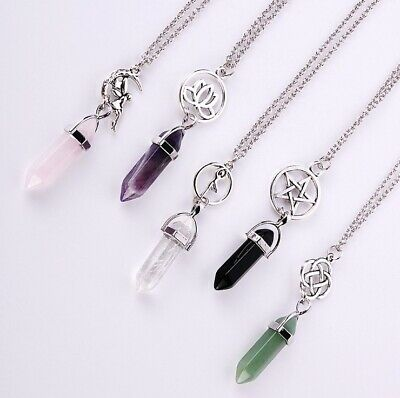 $ CDN3.14 • Buy Crystal Bullet Hexagon Lotus Flower Fairy Pentagram Pendant Chain Necklace