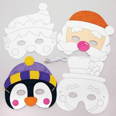 £4.99 • Buy Christmas Masks Kit Colour-in Paint Decorate Creative Activity Fun Party 4 Pack