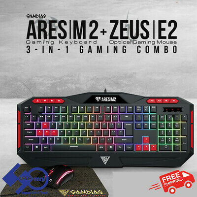 AU39.95 • Buy PC Gaming Keyboard+Mouse+Mousepad Combo Multi-Colour Backlight Gamdias Ares M2