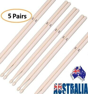 AU19.63 • Buy 5Pairs Drum Sticks 5A Classic Maple Drumsticks Wooden Tip Instrument Accessories