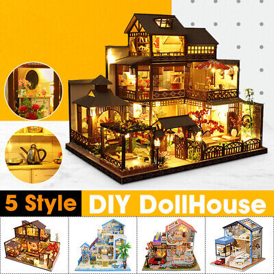 NEW Japanese Villa DIY DollHouse Miniature Furniture Kits LED Light Gifts Toy • 73.71£