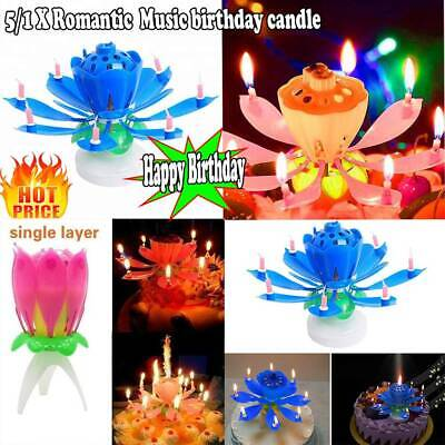 $ CDN12.17 • Buy 5/1 X Romantic Lotus Flower Electronic Music Happy Birthday Decor Candle HOT