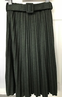 Brand New Primark Khaki/Forest Green Pleated Knitted Skirt With Belt! Size 8! • 14.99£