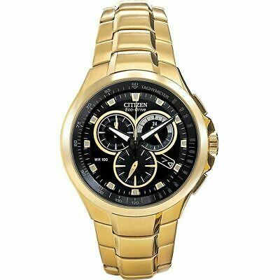 Citizen Men's AT0902-59E Eco Drive Chronograph Gold Plated Watch • 149£
