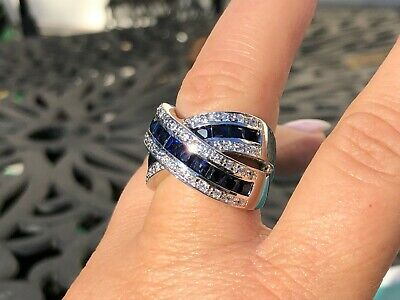 $150 • Buy Charles Winston Sterling Silver Simulated Sapphire & CZ Ring SHOPNBC